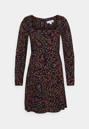 PAISLEY SQUARE NECK MINI DRESS - Kjole - black