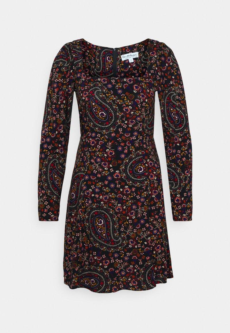 Miss Selfridge - PAISLEY SQUARE NECK MINI DRESS - Day dress - black