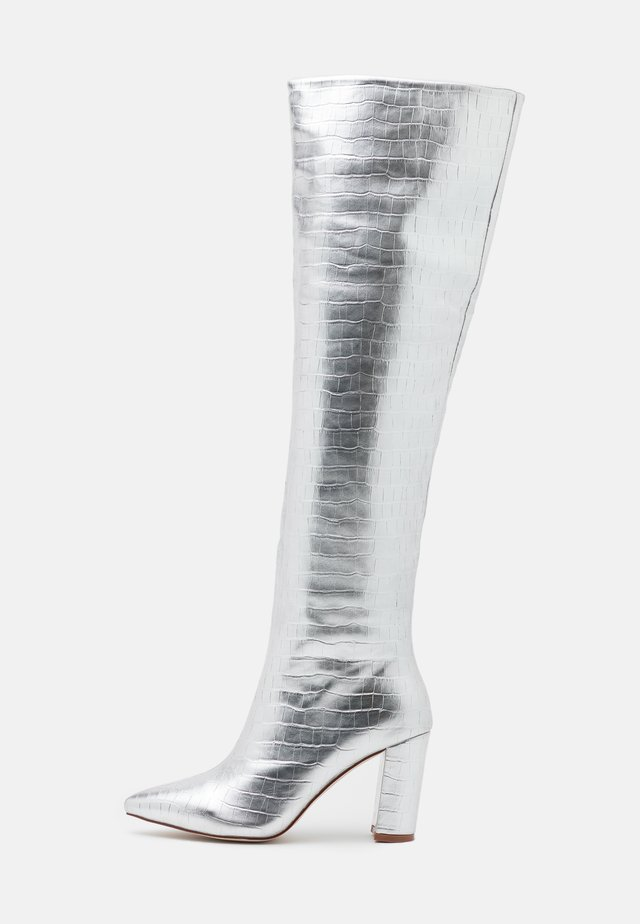SIMMER - Over-the-knee boots - silver