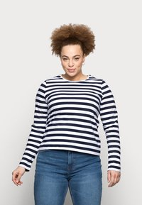 Pieces Curve - PCRIA NEW TEE - Long sleeved top - bright white/maritime navy - 0