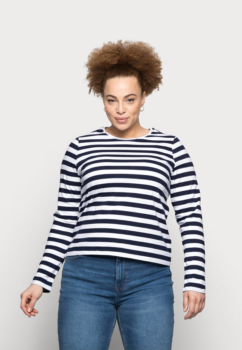 Pieces Curve - PCRIA NEW TEE - Long sleeved top - bright white/maritime navy