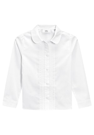 WHITE LONG SLEEVE LACE TRIM BLOUSE (3-14YRS) - Button-down blouse - white