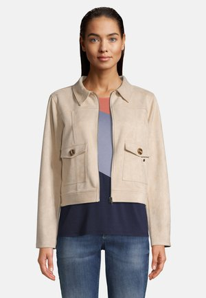 MIT AUFGESETZTEN TASCHEN - Summer jacket - beige