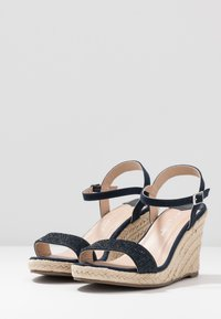 Dorothy Perkins Wide Fit - WIDE FIT RAA-RAA EMBELLISHED VAMP WEDGE - High heeled sandals - navy - 4