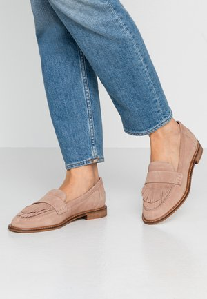 LEATHER SLIPPERS - Mocasines - nude