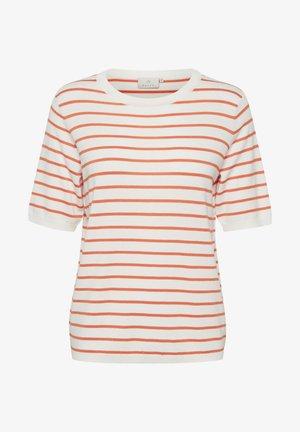 Print T-shirt - chalk / orange stripes