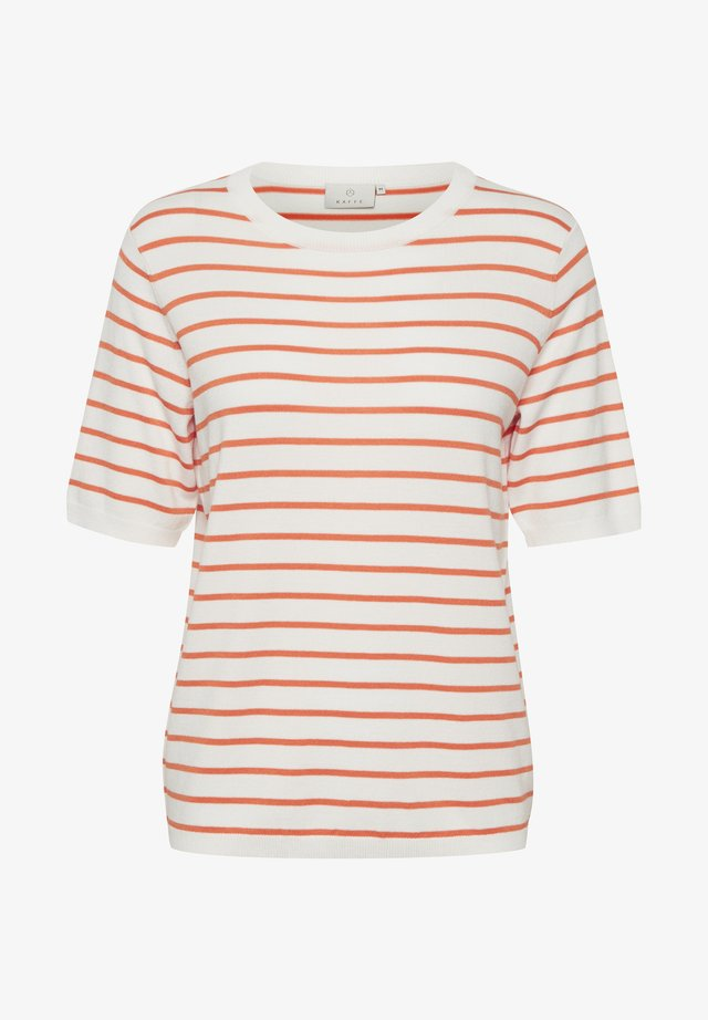 KAMALA  - T-shirt con stampa - chalk / orange stripes