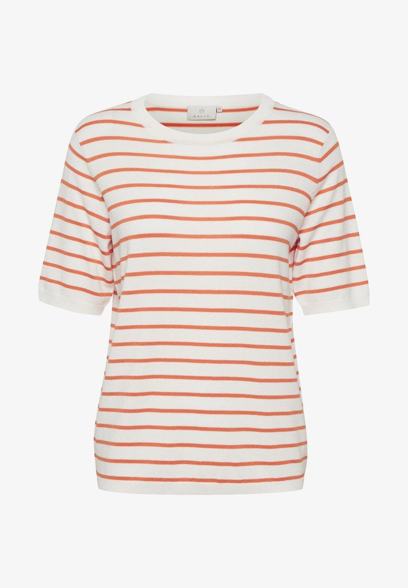 Kaffe - Print T-shirt - chalk / orange stripes