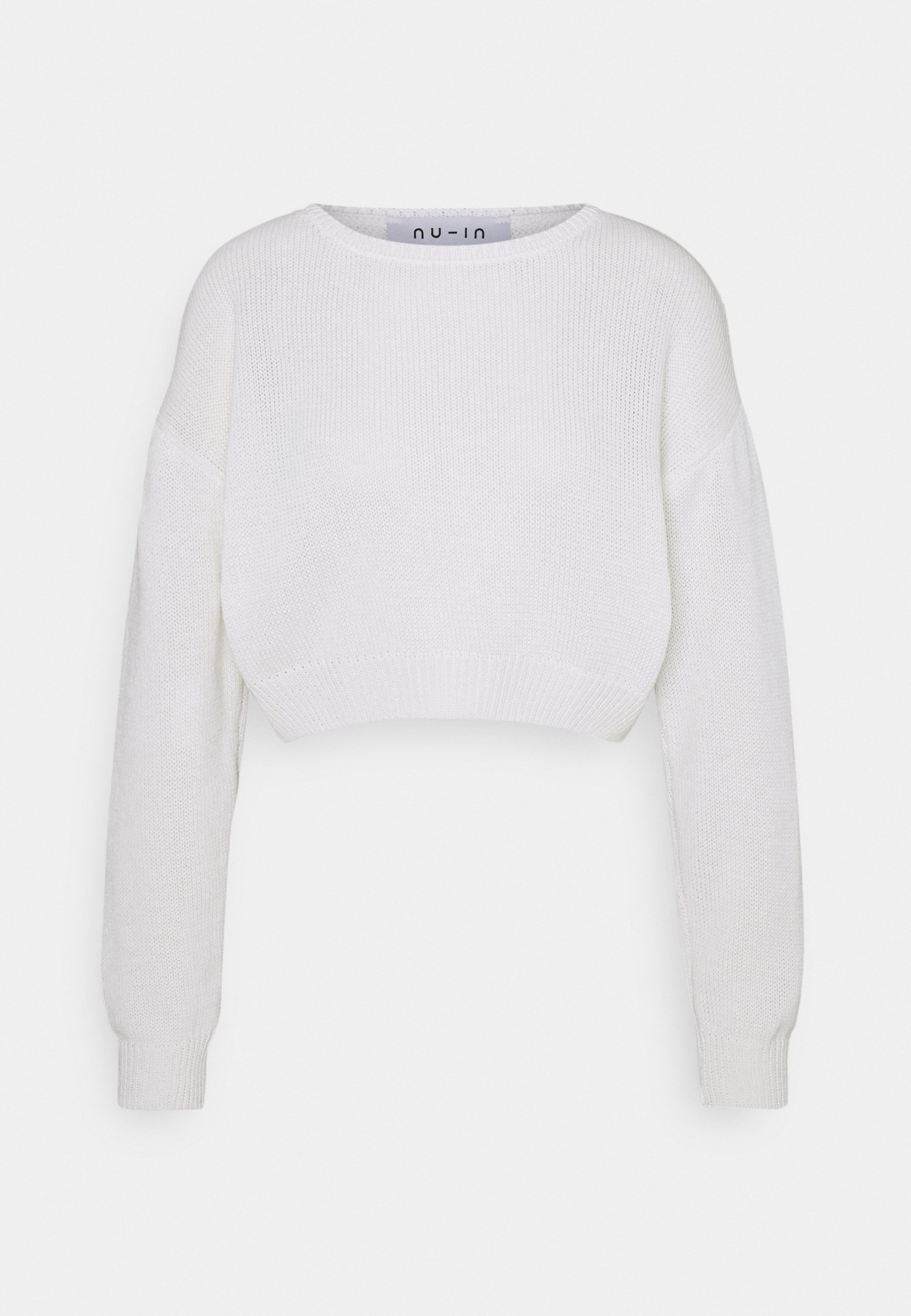 Missguided Petite CROPPED Stickad tröja off white