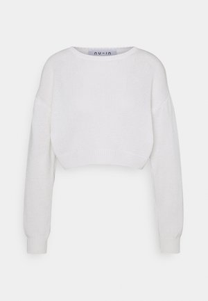 ROUND NECK CROPPED JUMPER - Jumper - off white