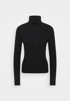 LONGSLEEVE TURTLE NECK STRUCTURE - Pullover - black