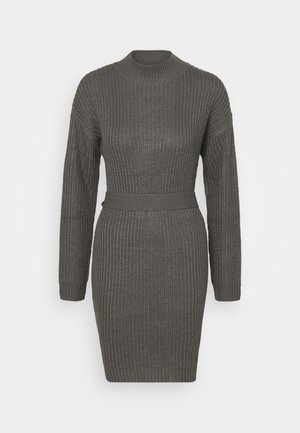 ROLL NECK BASIC DRESS WITH BELT - Strikket kjole - charcoal