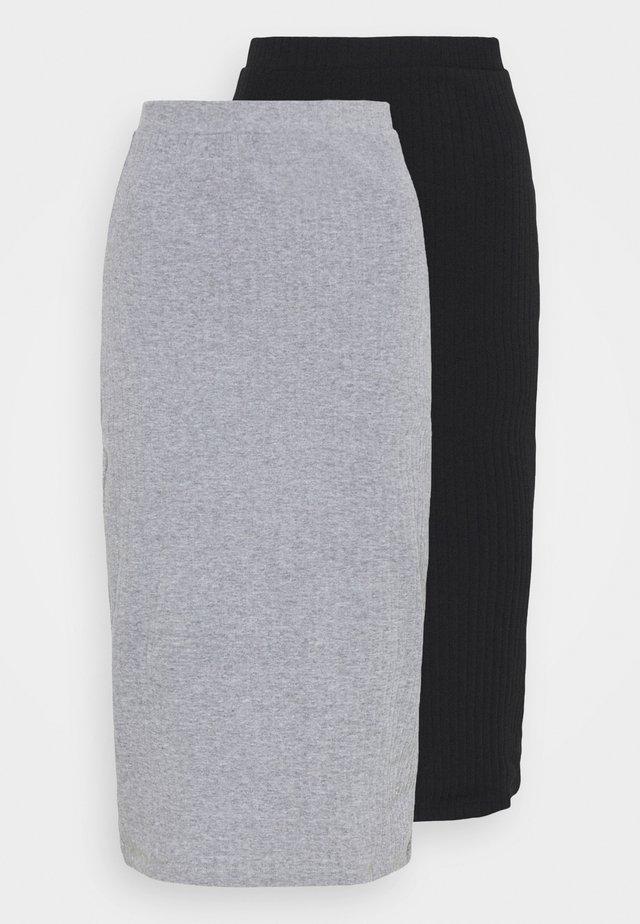 2 PACK - Pencil skirt - black/mottled grey