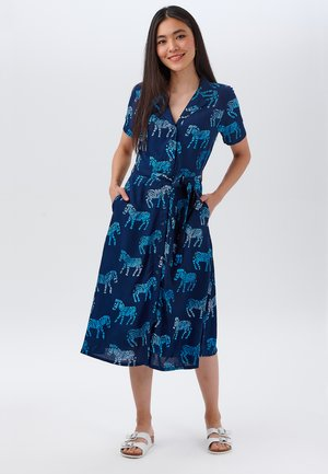KENDRA ZEBRA BATIK - Shirt dress - navy
