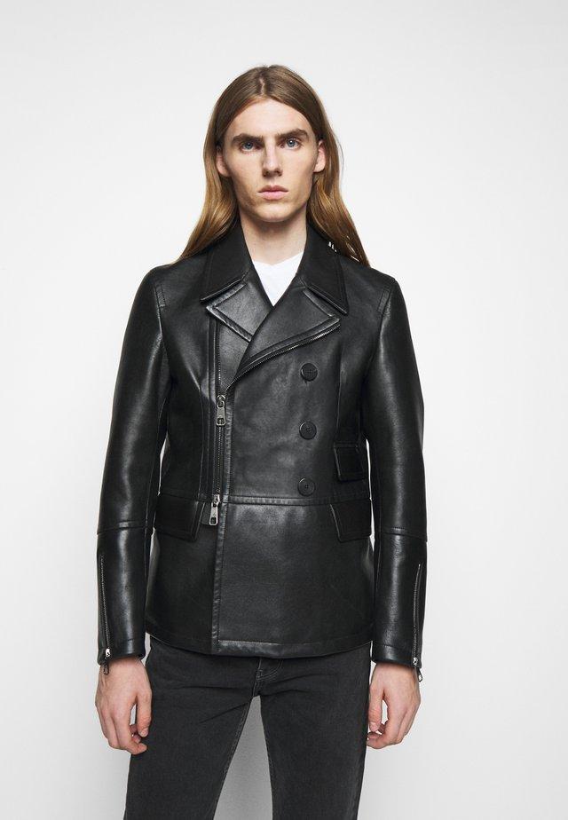 ZIP UP PEACOAT - Leren jas - black