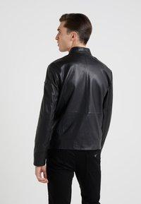 Emporio Armani - CABAN COAT - Kožená bunda - black - 2