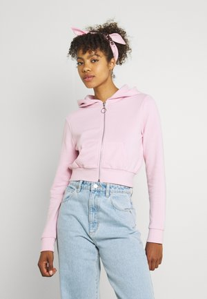 Cropped Zip Up Sweat Jacket - Sweater met rits - light pink