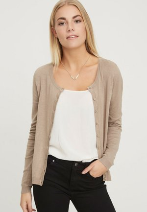 VMGLORY VIPE LS O-NECK CARDIGAN COL - Cardigan - silver mink/brown