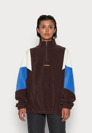 UNISEX COLOUR BLOCK MOCK NECK  - Sweater - chocolate