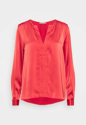 Satin V Neck - Blouse - red