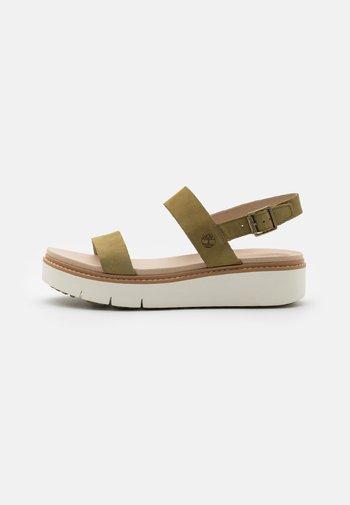 SAFARI DAWN 2BAND - Platform sandals - olive