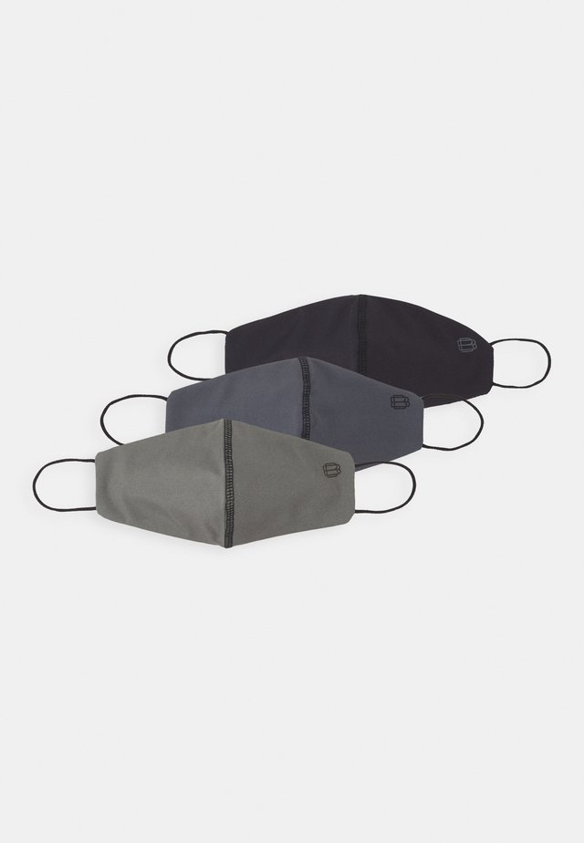 PLAIN FACE COVER 2 PACK - Látková maska - black/grey/khaki