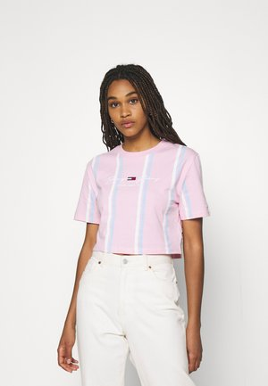 STRIPE CROP TEE - Print T-shirt - romantic pink
