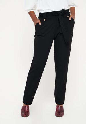 PAPER  WITH BELT - Trousers - black