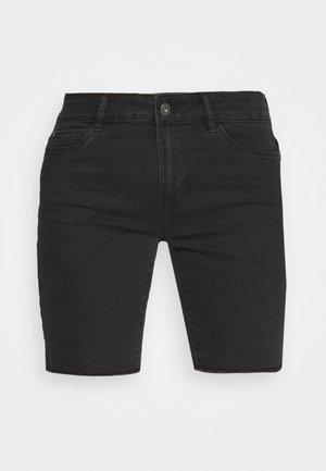 ONLSUN ANNE MID RAW HEM - Denim shorts - black denim