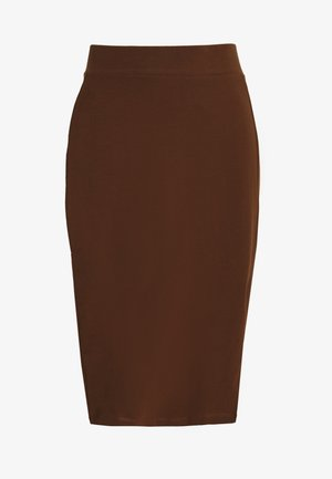 BASIC - Pencil skirt with slit - Blyantskjørt - dark brown