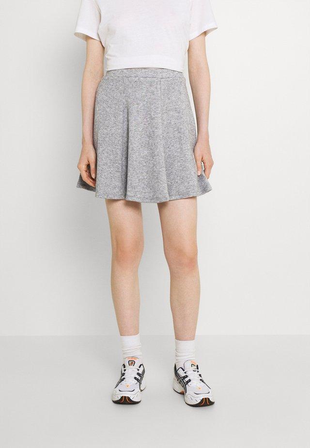 Flared mini knitted skirt - Mini skirt - mottled grey