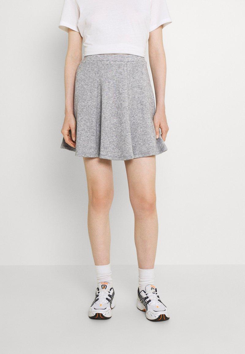 Even&Odd - Flared mini knitted skirt - Minikjol - mottled grey