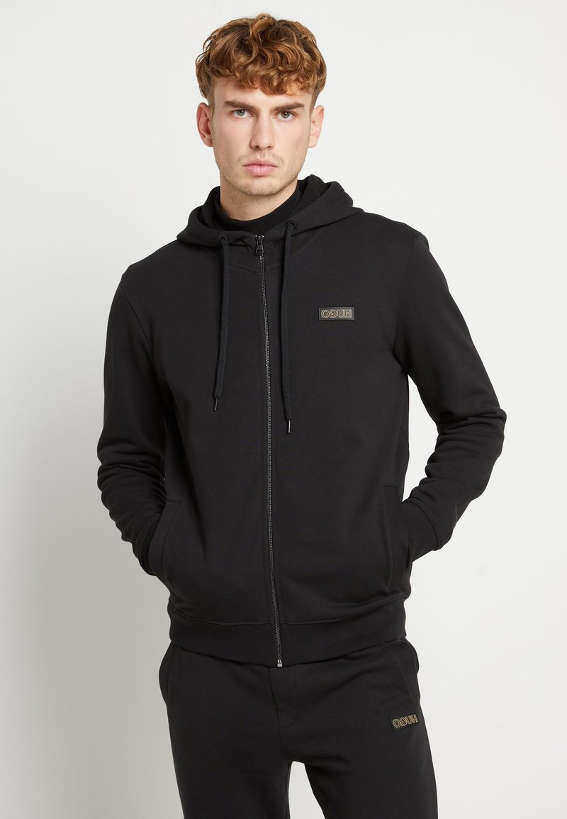 HUGO - DINORO - veste en sweat zippée - black/gold