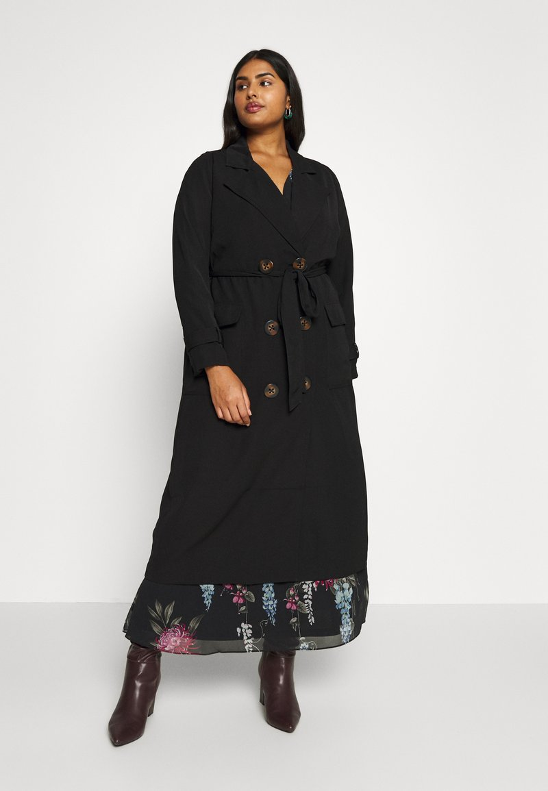 City Chic - SOFLTY DRAPE - Trenchcoat - black