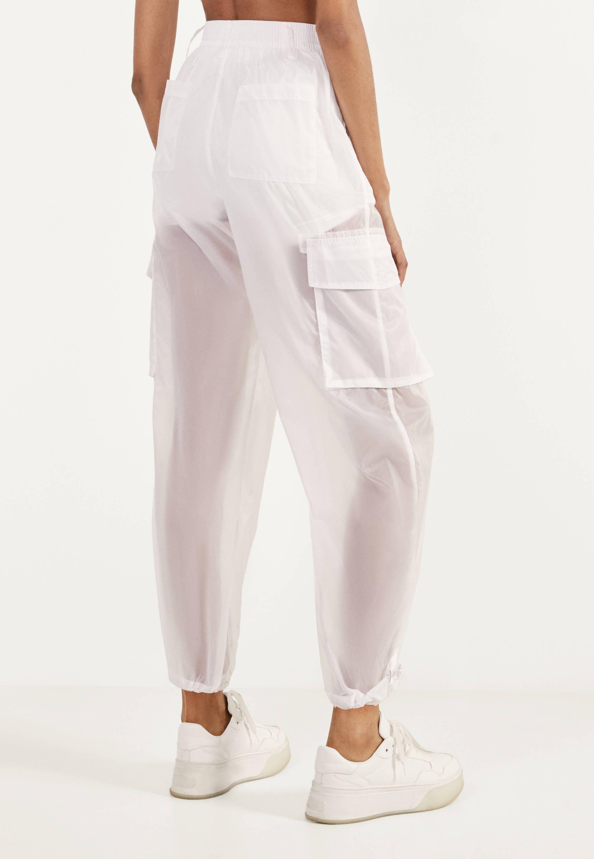 Bershka Transparente Pantalon Classique White Blanc Zalando Fr