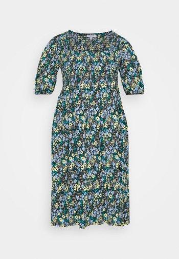 WAFFLE SQUARE NECK TIERED MIDI DRESS - Vestido informal - blue