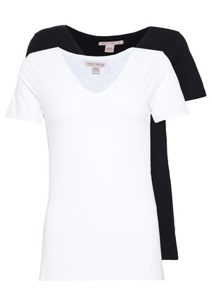 2 PACK  - T-shirt - bas - black/white