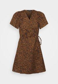 WRAP DRESS IN LEOPARD - Kjole - brown