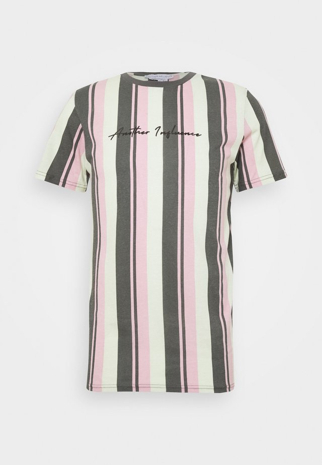 SIGNATURE VERTICAL STRIPE - Print T-shirt - grey/mint/pink