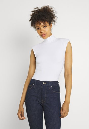 MOCK NECK POWER BODYSUIT - Print T-shirt - ivory