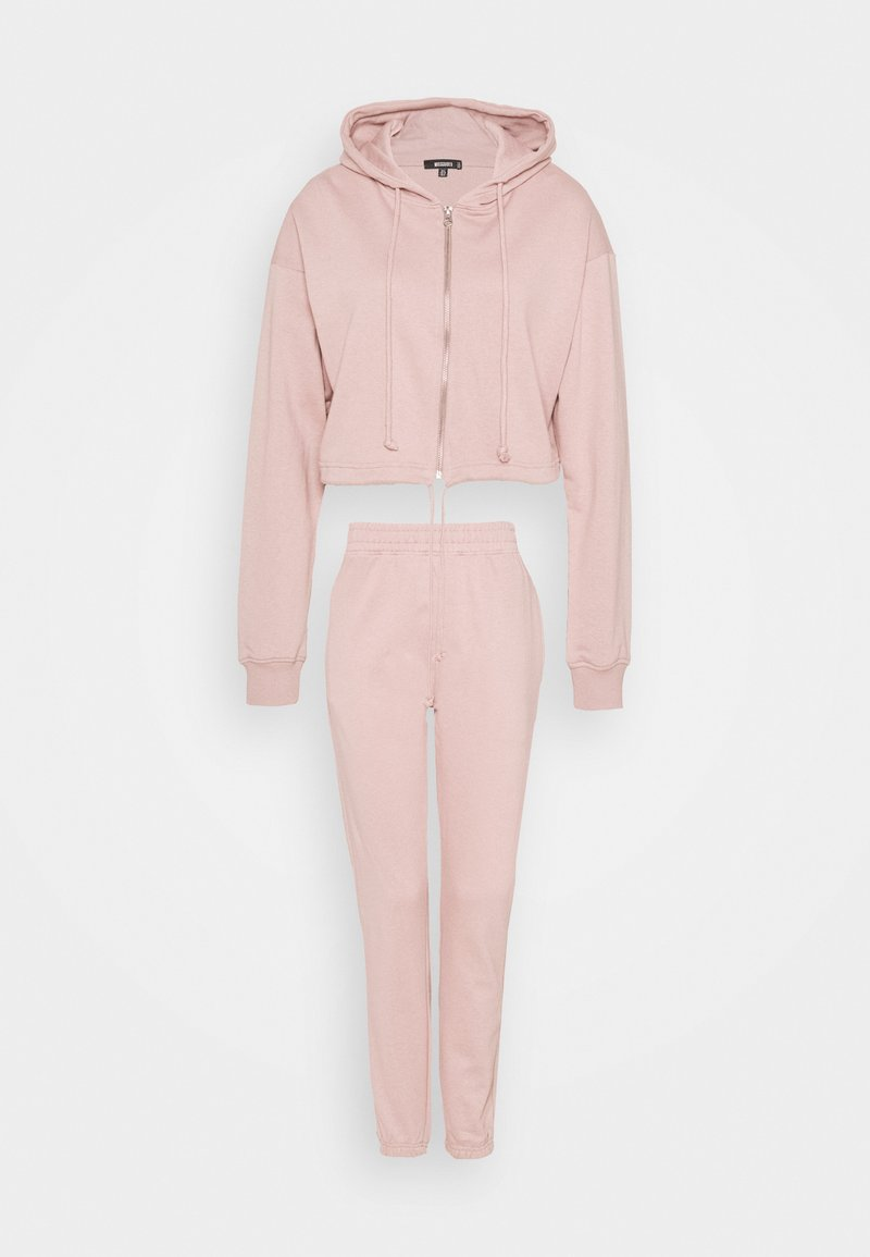 Missguided - CROP ZIP HOODY JOGGER SET - Zip-up sweatshirt - pink