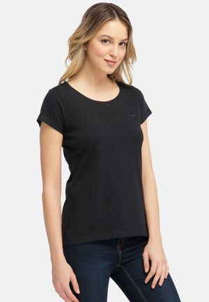MIT KLEINER STICKEREI - Print T-shirt - black
