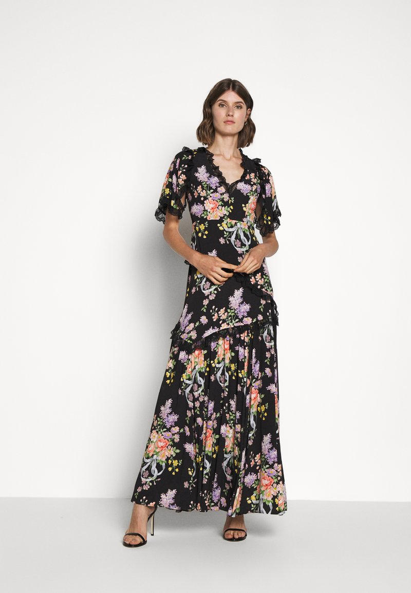 Needle & Thread - FLORAL DIAMOND ELSA V NECK GOWN - Maxi dress - graphite