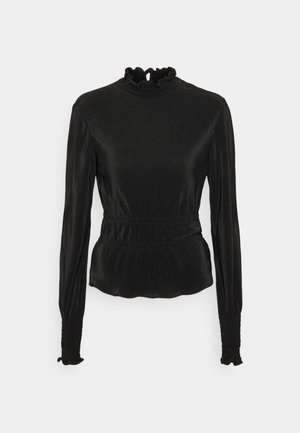 PLEATED HIGH NECK BLOUSE - Long sleeved top - black