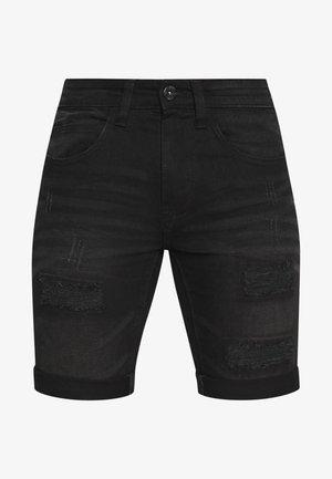 KADEN HOLES - Jeansshort - ultra black