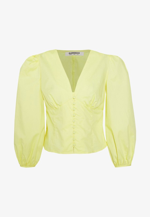 BLOUSE WITH BUTTON DETAIL - Blouse - yellow