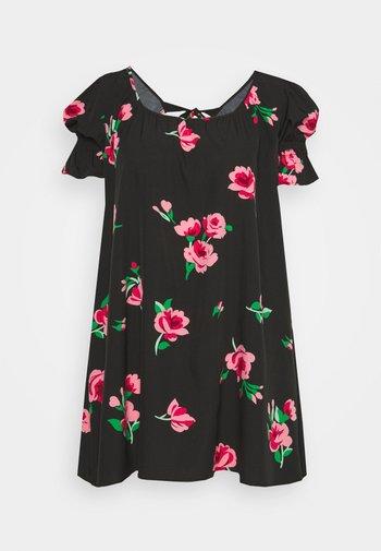 PLUS FRILL CUFF SWING DRESS - Day dress - black