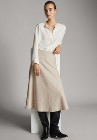 Massimo Dutti - A-line skirt - beige - 4