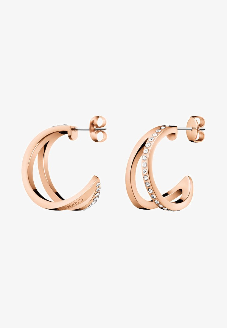 Calvin Klein - DAMEN-CREOLE OUTLINE  - Earrings - rosegold-coloured