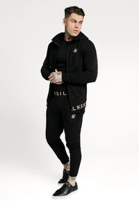 SIKSILK - ELASTIC JACQUARD ZIP THROUGH HOODIE - Felpa aperta - black - 1